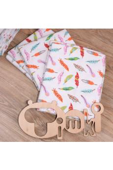 Пеленка 90х80 для новорожденного Перышки от ТМ Timki, фланель