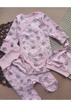 Комплект в роддом для девочки Crown  Фламинго (боди, ползунки, шапочка)